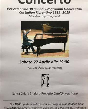 Castiglion Fiorentin: per il 30mo del College americano Santa Chiara Study Centre; domani pomeriggio ore 18.00 inaugurazione della mostra e concerto, ore 19.00, del maestro Luigi Tanganelli